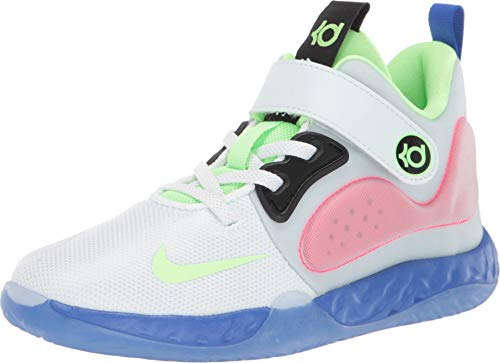 Nike Little Boys KD Trey 5 VII Basketball Sneakers (2.5, White/Lime Blast-Hyper RO)