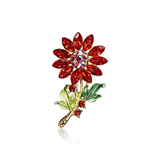 palettei Crystal Sunflower Brooches for Women Coat Brooch Pin Fashion Jewelry (Red) (Sunflower Crystal Brooch)