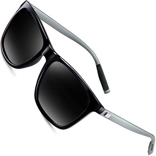 wearPro Wayfarer Sunglasses for Men Polarized Vintage Men`s Sun Glasses WP1003 Black/Gun