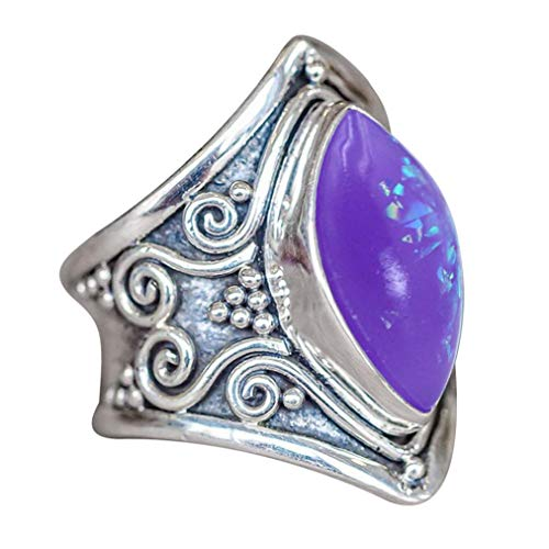 HIRIRI Moonstone Opal Ring Necklace Retro Stylish Gem Inlaid Accessories Wedding Engagement Present (Purple, 11) ()