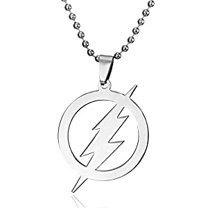 iDMSON Stainless Steel Superhero Flash Necklace – Lightning Round Pendant Necklace Bead Chain
