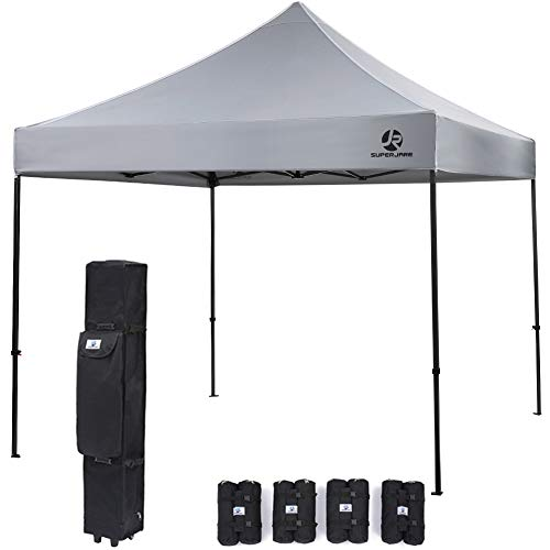 SUPERJARE Pop-up Canopy, 4 Weight Bags and a Wheeled Carry Bag, 10 Ft x 10 Ft Commercial Shelter, Outdoor Instant Folding Tent, Heavy Duty – Gray