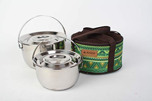 Kazmi Hera Stencook Kocher Set (Medium) – Camping Gear and Cookware Set | Stainless Steel Triple Layer Survival Gear Pots and Pans | Pot Set for Hiking, Backpacking, Travel, Outdoor Cooking