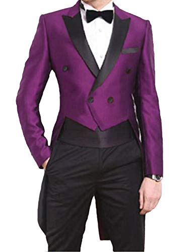 Retro Tuxedo Costume for Men Formal Dinner Suit with Tails Purple Modern Fit Wedding Party Blazer