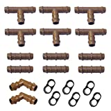 Habitech Irrigation Fittings Kit for 1/2' Tubing 20 Piece Set - 6 Tees, 6 Couplings, 2 Elbows, 6 End Cap Plugs - Barbed Connectors for Rain Bird and Compatible Drip or Sprinkler Systems