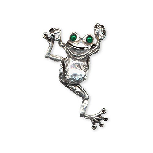 Esquivel and Fees Frog Jewelry Sterling Silver Frog Brooch Pin Handmade Frog Jewelry FG1-XBP