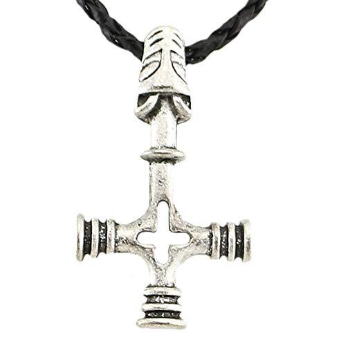HOPEANT Upside Down Cross Celtic Wolf Norse Viking Leather Chain Mjölnir Pendant Necklace Thailand Jewelry VKXL56