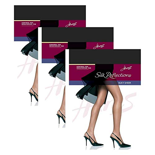 Hanes Silk Reflections Control Top, Reinforced Toe Pantyhose 3 Pair