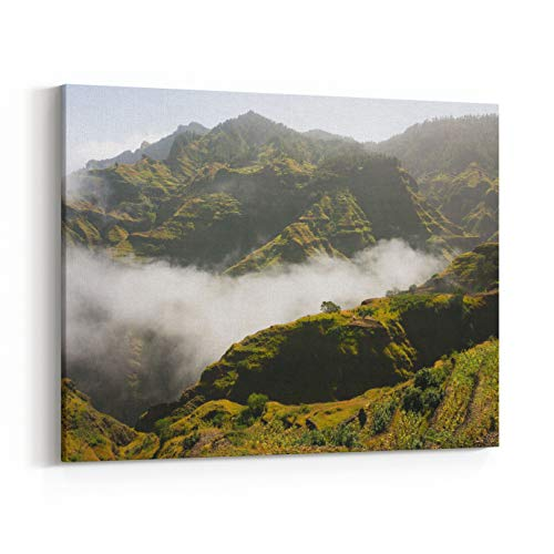 Rosenberry Rooms Canvas Wall Art Prints - Hilly Rural Landscape in Clouds Village House and Farmlands Santo Antao, Cape Verde (10 x 8 inches) ()