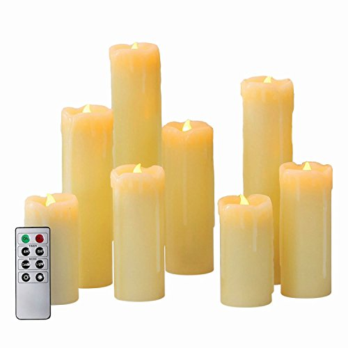 8 Ivory Slim Drip Flameless Candles with Warm White LEDs, Assorted Sizes, Remote and Batteries Included