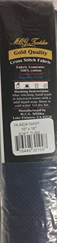 12 by 18 M C G Textiles 14 Count Aida Navy