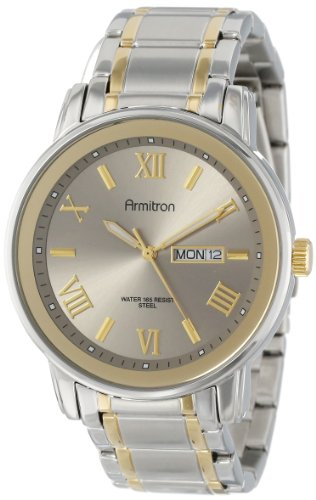 Armitron Men's 20/4935SVTT Day and Date Function Two-Tone Stainless Steel Bracelet Watch