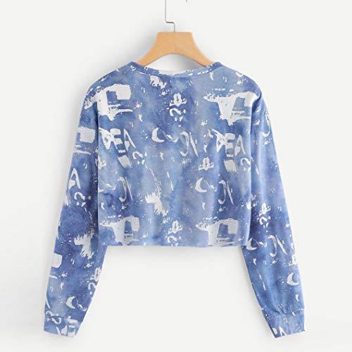 Donna Lunga Maglietta Cotone Donna Camicetta in Pullover Casual Manica Tops Lettera VICGREY Camicia Eleganti Blu Felpa Stampata Autunno Felpa 7IwI8qnp6