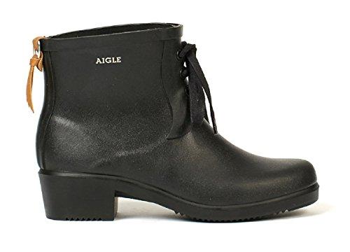 Aigle Womens Miss Juliette Bottillon Lacet Rubber Boots Black