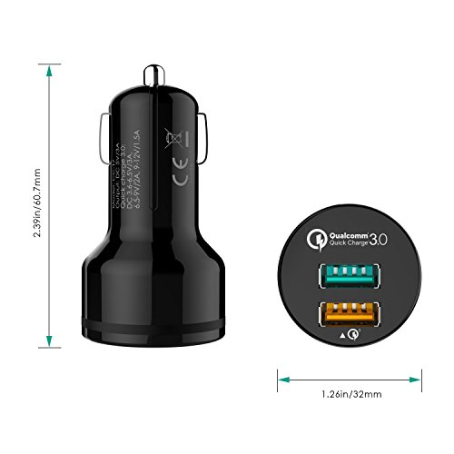 easy price 30 AUKEY automotive Charger by using dual Ports for Samsung Galaxy Note8 S8 S8 LG G6 V20 iPhone 8 7 Plus and far more Qualcomm Certified automotive Chargers
