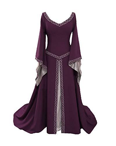 Women Halloween Medieval Queen Costume V-Neck Dress Cosplay Costume Purple 4XL -