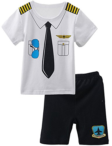 Mombebe Baby Boys' 2 Pieces Pilot Costume Shorts Sets (3T, (Halloween Costume Ideas For Two Boys)