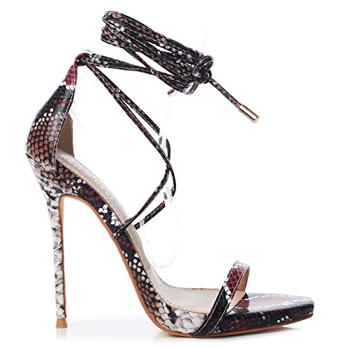 Pink Snake Lace up Stiletto High Heel Sandals US7