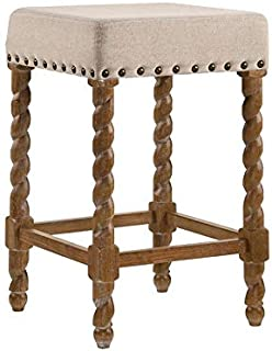 product image for Carolina Chair & Table Remick 24 Inch Counter, Natural Oak/Linen Stool