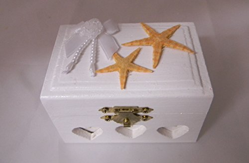 (Wedding ceremony Ring bearer Box Hold Rings Beach Seashells Starfish Design)