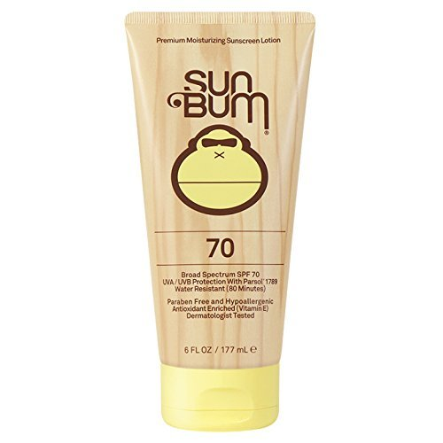 (Sun Bum Original Moisturizing Sunscreen SPF 70 Lotion - Broad Spectrum UVA/UVB - Water Resistant & Non-Greasy Protection, Hypoallergenic, Paraben Free, Gluten Free - SPF 70 - 6 oz. Tube - 1 Count)