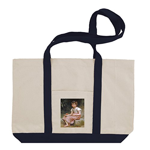 A Calling 1896 (Bouguereau) Cotton Canvas Boat Tote Bag Tote - Navy - 1896 Canvas