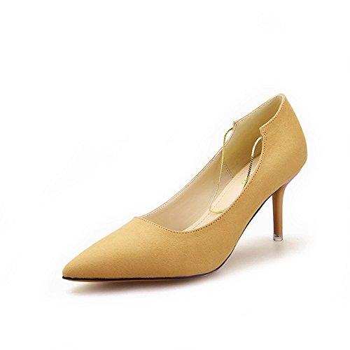 Nogajoe Women's Fashion Stilettos Suede Chain Pointed Toe Pumps Yellow 8.5M US (39M EU)