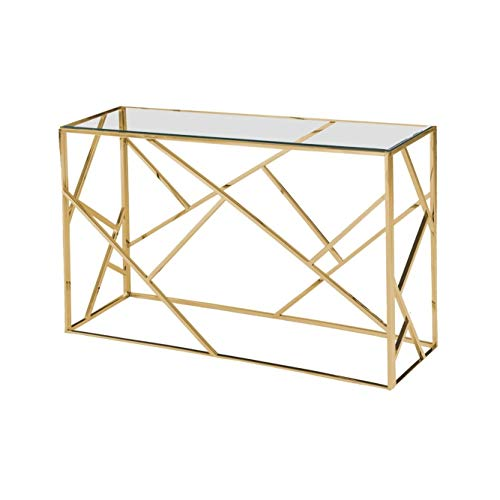 Best Master Furniture E26 Angled Frame Sofa Table, Gold Plated