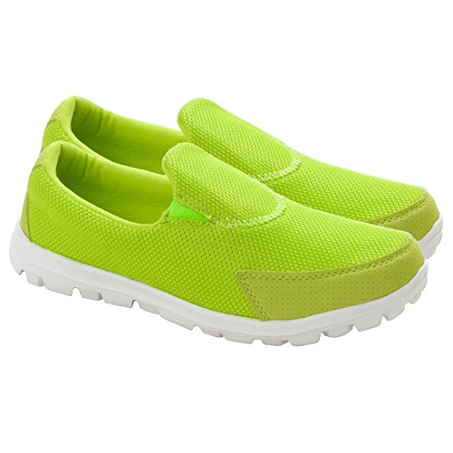New Womens Girls Lightweight Slip On Trainers Pumps Ladies Flat Shoes Size UK 1-9 Lime wePdRHkwiM
