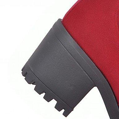 Semicuero Rojo Robusto cms Casual Mujer Tacón amarillo 7 5 Amarillo Botas Innovador Primavera Borla Negro Invierno amp;xuezi GLL Confort CxqBw0Pp