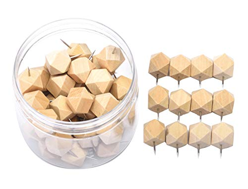 Decorative Wall Tacks (Wood Push Pins, JoyFamily 50 Pieces Geometric Decorative Thumb Tacks with Box for Cork Board, Map, Photos and Calendar, Natural)
