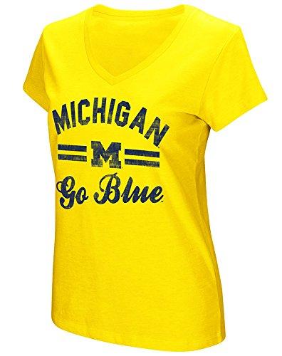 Women's Michigan Wolverines Junior Sized Maize Hurdle V Neck T Shirt - Shops Avenue Michigan