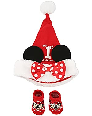 Baby Girls' Hat and Sock Set Minnie 1st Christmas