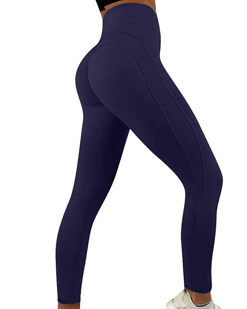 Navy bluee (No Ruched) RUUHEE Women Yoga Pants Butt Lift High Waisted Shapewear Exercise Leggings