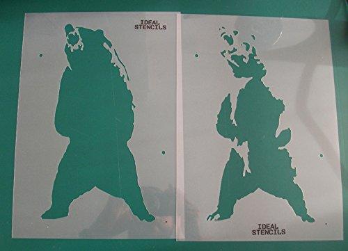Grizzly Bär, kanadische Bär, Schablone Heim Heim Heim Wand Dekorieren & Basteln Schablone gemalt auf Wände und Möbel 190 Mylar wiederverwendbar - halb geschliffen Durchsichtig Schablone, XXL wxh 52x95cm B074MFV3M2 | Um Eine Hohe Bewunderung Gewi 1a7244