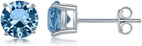 Beaux Bijoux 925 Sterling Silver Italian Swarvoski Element Birthstone 6mm Diamond Basket Setting Stud Earrings