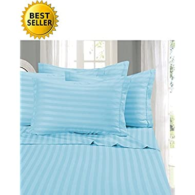 Elegant Comfort #1 RATED Bed Sheet Set on Amazon - Silky Soft - 1500 Thread Count Egyptian Quality Luxurious Wrinkle, Fade, Stain Resistant 6-Piece STRIPE Bed Sheet Set, King Aqua