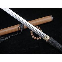 "Longquan sword/Tang jian/Damascus Steel blade/MAHOGANY scabbard/Full tang/Hand-woven rope slip/Length 39"""