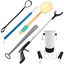 Hip And Knee Replacement Kit by Vive - 6 Piece Surgery Recovery Set - Handicap Aid Package, Leg Loop Lifter, Reacher Grabber, Long Handle Shoe Horn, Shower Loofah Scrubber, Sock Assist, Dressing Stick