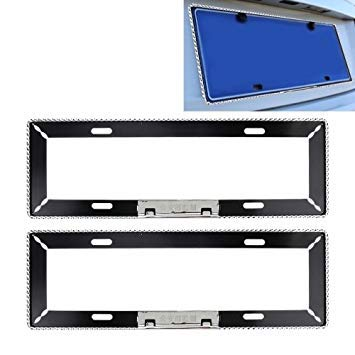 Uniqus 2 PCS Stainless Steel License Plate Frame Simple and Beautiful Car License Plate Frame Holder Universal License Plate Holder Car Accessories(Black)