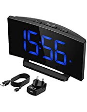 Mpow Digital Alarm Clock Bedside Mains Powered with Snooze Function, 1-Minute Easy Setting, 3.75'' Large Display Number, 3 Adjustable Alarm Sounds, Perfect for Bedroom,Office(Adapter Included)