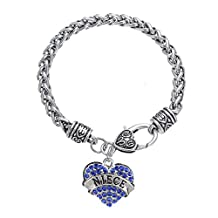 Mother's Day Gift for Mom Bracelet Engraved Lobster Claw Clear Crystal Pave Heart Charm Bracelet