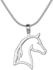 Cut Out Horse Head Pendant Snake Chain Necklace Equestrian Jewelry for Horse Lovers