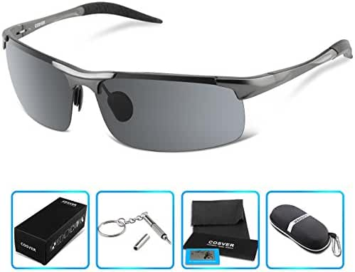 COSVER Men's Sports Style Polarized Sunglasses for Driving Cycling Running Fishing Golf Unbreakable - Metal Frame Al-Mg Glasses