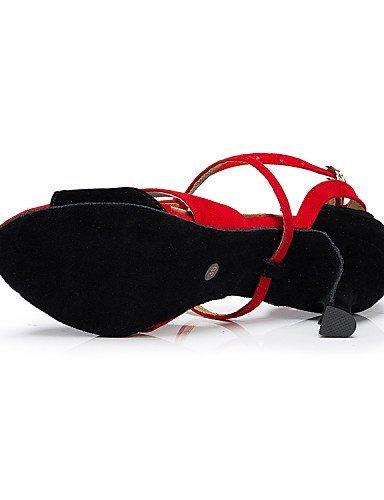 ShangYi Chaussures de danse ( Autre Personnalisables ) - Non Personnalisables Autre - Talon Bobine - Flocage - Latine ROT a56918