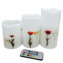 Flamelesss candles with timer,Real wax led lights with floral scented,inlayed real dry flower with special technology,set of 3, tall 4,5,6inch,color changing flicker