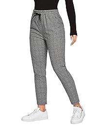SweatyRocks - Corbata de Mujer de Cintura Alta, diseño de Rayas, Casual, Pantalones Largos