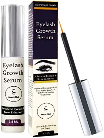 BEAUTILISH Eyelash Growth Serum | Lash and Eyebrow Boosting Enhancer with Biotin and Natural Peptides | Non-Irritating and Hypoallergenic Formula for Rapid Growing of Long, Thick Lashes & Eye Brow
