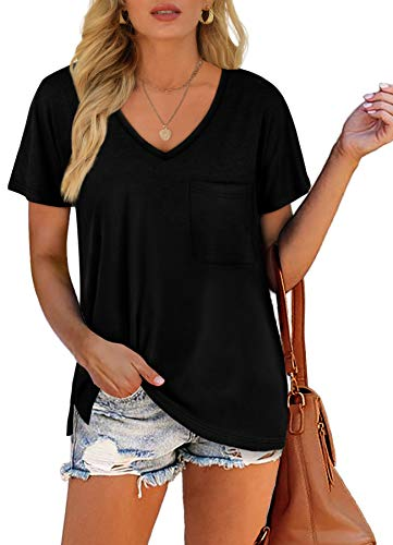 Dofaoo Women's V Neck Short Sleeve T-Shirts Side Split Pocket Summer Tee Tops