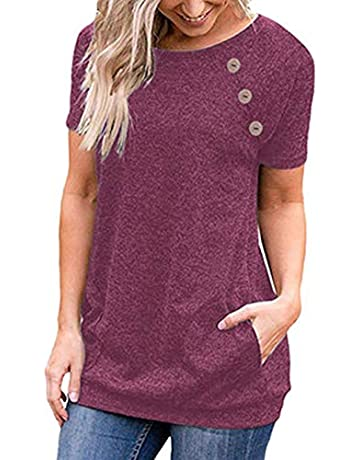 fdbbbbf2a05a TEMOFON Women s Short Sleeve T-Shirts Summer Casual Solid Side Buttons  Tunic Tops Blouse with